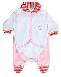 Conjunto Pagão em Suedine 3 Peças - Listrado Reat - 100% algodão Baby Passo a Passo