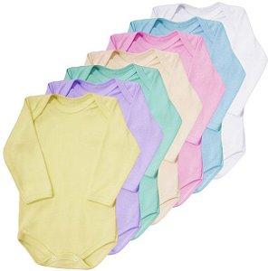 Body Manga Longa em Suedine 100% algodão Baby Passo a Passo [Unidade]