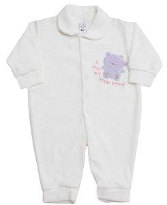 Macacão em  Plush Ursinha Feliz - Baby Passo a Passo