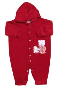Macacão em  Plush C/ Capuz Ursinha Feliz - Baby Passo a Passo