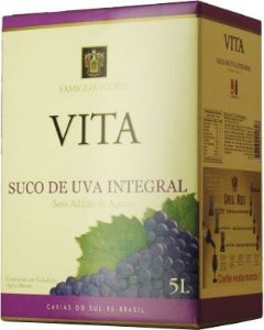 Suco De Uva Vita Tinto Integral Sem Açucar Bag In Box 5l