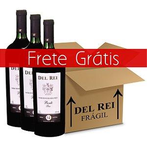 Vinho Del Rei Tinto Seco Bordo 1l - Box Com 12 Unidades - Frete Grátis