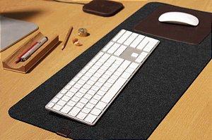 Mouse Pad Em Feltro de Lã  90x40 Cm - com Base Couro