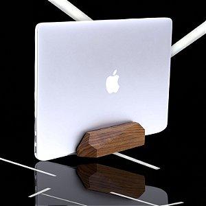 Suporte Notebook Laptop Vertical Madeira Geometrico