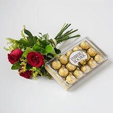 Buquê com 3 Rosas vermelhas e Ferrero Rocher