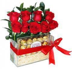 Arranjo de rosas com chocolate