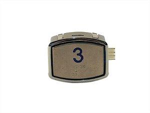 BOTÃO AK30 BLUE LED - BRAILLE - 24VDC Nº 3 (BOTAO 3)