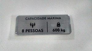54118 - ADESIVO CAPACIDADE MÁXIMA CABINA HL03 ( 8 PESSOAS-600kg)