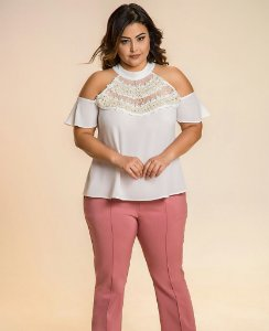 BLUSA PLUS SIZE TIFFANY BRANCA