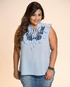 BLUSA PLUS SIZE CALIFORNIA AZUL