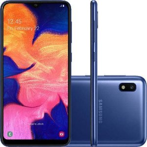 "Smartphone Samsung Galaxy A10 32GB Dual Chip Android 9.0 Tela 6.2"" Octa-Core-azul"