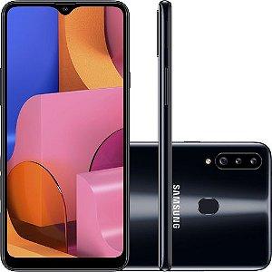 "Smartphone Samsung Galaxy A20s 32GB Dual Chip Android 9.0 Tela 6.5"" Octa-Core 1.8 GHz 4G Câmera Tripla 13.0 MP + 5.0 MP + 5.0 MP(UW) - Preto"