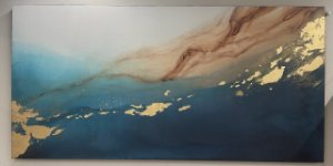 Quadro Wind turquesa com gold  Tamanho 90x180 Artista Plástica Júlia Vaz