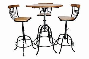 Mesa e Cadeiras Giratórias | 3 níveis de altura