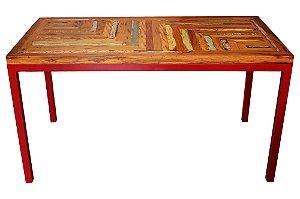Mesa de Jantar Patchwork Vermelha | 140x75x80cm