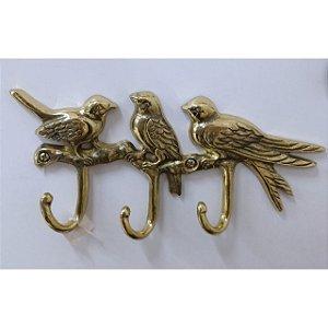 Cabide em bronze de pássaros