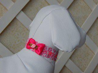 Gargantilha Joy Pet Tecido Floral / Laço Pink