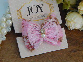 Laço Joy Bico de Pato Rosa Bebê Floral Pérola / Strass