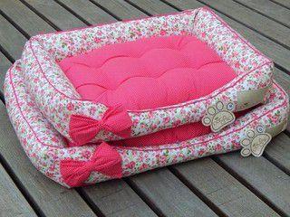 Cama Retangular Pata Chic Floral Pink