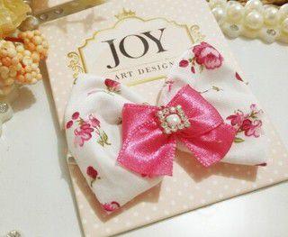 Laço Topete Joy Branco com Floral