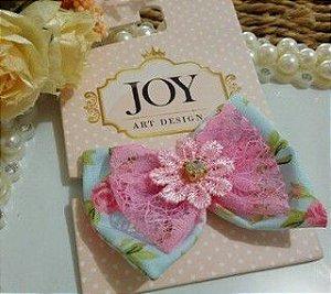 Laço Tecido Topete Joy Fundo Azul Renda e Laço Rosa Strass
