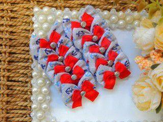 Laço Tecido Joy âncora Fita Vermelha 3,5cm