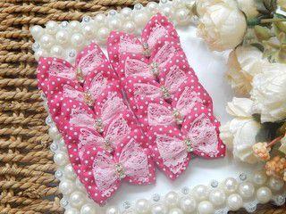 Laço Tecido Joy Poá Pink Strass