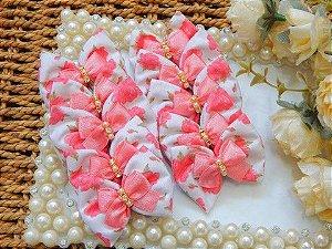 Laço Tecido Joy  Flores Rosê 4,5cm