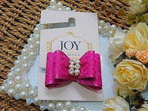 Laço Artesanal Joy Pet Pink Renda