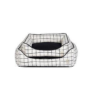Cama Retangular Woof Grid Cru/Preto