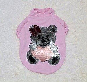 Moletom Urso Paetê Malloo Pet Rosa