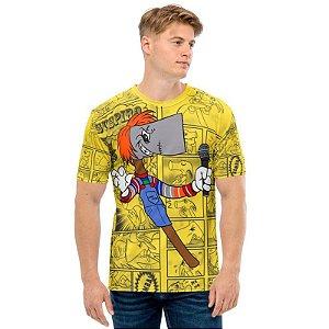 NELSON MACHADO - Machadinho Cosplay Chucky Amarela - Camiseta de Dubladores