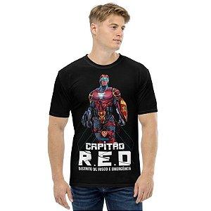 KIMERA - Capitão Red Distrito risco Emergência - Camiseta de Heróis Brasileiros