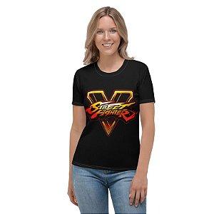 STREET FIGHTER - SFV Logo Preta - Camiseta de Games