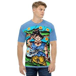 DRAGON BALL GT - Goku Adulto Azul - Camiseta de Animes