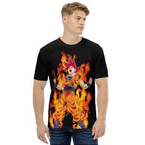 DRAGON BALL SUPER - Goku God em Chamas - Camiseta de Animes