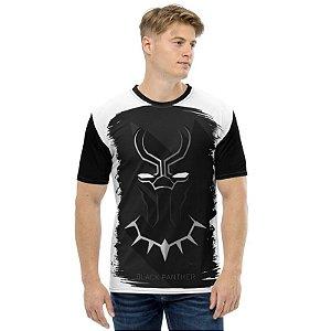 MARVEL - Pantera Negra Simples Branca - Camisetas de Heróis