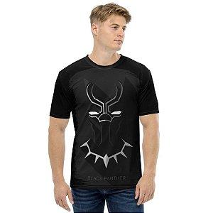MARVEL - Pantera Negra Simples Preta - Camiseta de Heróis