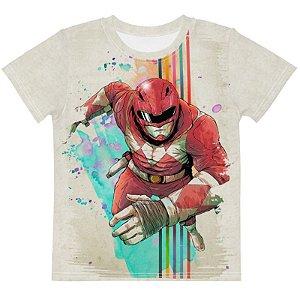 POWER RANGERS - Ranger Vermelho Branca - Camiseta de Tokusatsu