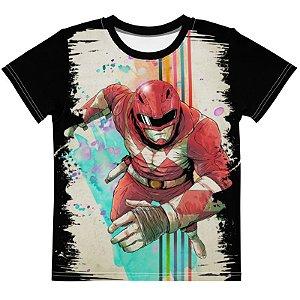 POWER RANGERS - Ranger Vermelho Preta - Camiseta de Tokusatsu