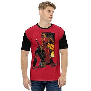 MARVEL - Deadpool em Chamas - Camiseta de Heróis