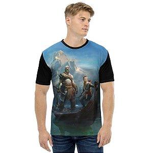 GOD OF WAR - Kratos & Artreus no Barco - Camiseta de Games