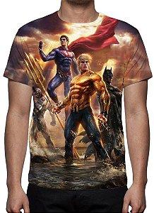 DC COMICS - Liga da Justiça Vs Jovens Titãs - Camiseta de Desenhos