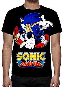 SONIC - Sonic Mania Preta - Camiseta de Games