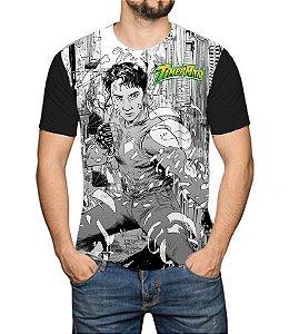 TIMERMAN - Mangá Comic - Camiseta de Heróis Brasileiros
