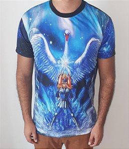 CAVALEIROS DO ZODÍACO  -  Hyoga de Cisne Execução Aurora - Camiseta de Anime
