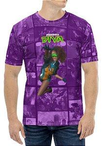 CADU ARTES - Fundação Amálgama Poderosa Diva Mod 1 - Camiseta de Heróis Brasileiros