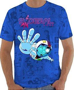 ARMON - Sideral Yuri Astronauta Azul - Camiseta de Mangás Brasileiros
