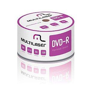 50 Unidades Dvd-r Multilaser 8x Mídia Printable Imprimível