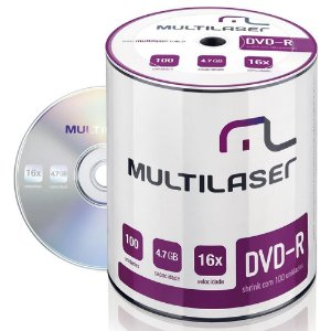 100 Dvd-r Virgem Multilaser C/logo 16x Dvd 4.7gb